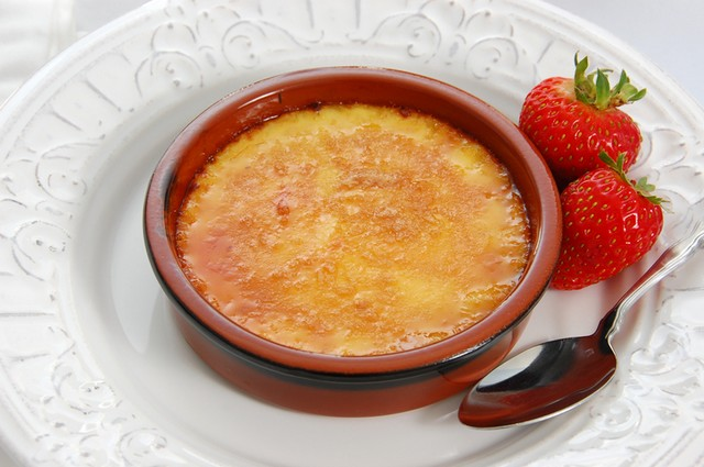Classic French Creme Brulee -- vanilla custard with a crunchy caramelized sugar topping.