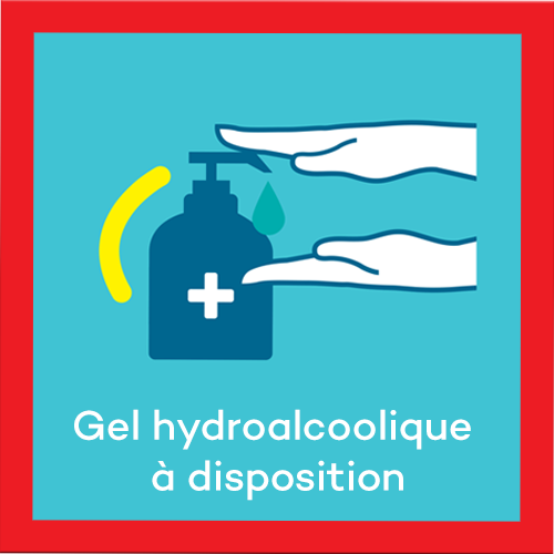 Gel hydroalcoolique à disposition